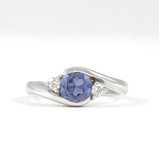 Earthwise Jewelry Ma Su Su sapphire and diamond engagement ring. By Leber Jeweler Inc.