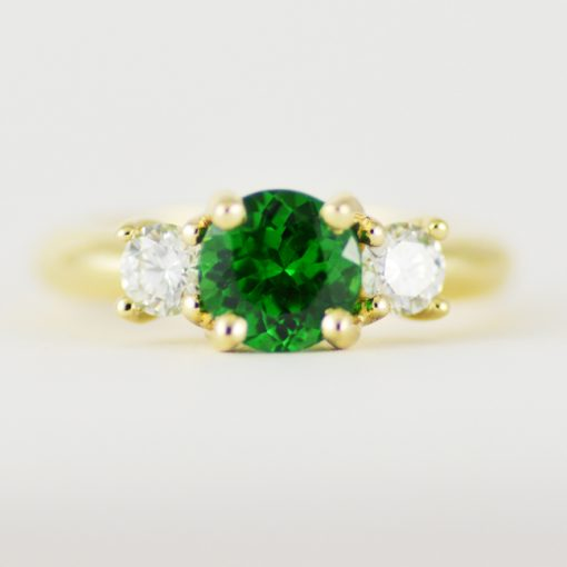 Earthwise Jewelry tsavorite and Canadian diamond engagement ring