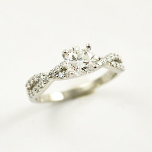 Earthwise Jewelry crossover diamond engagement ring
