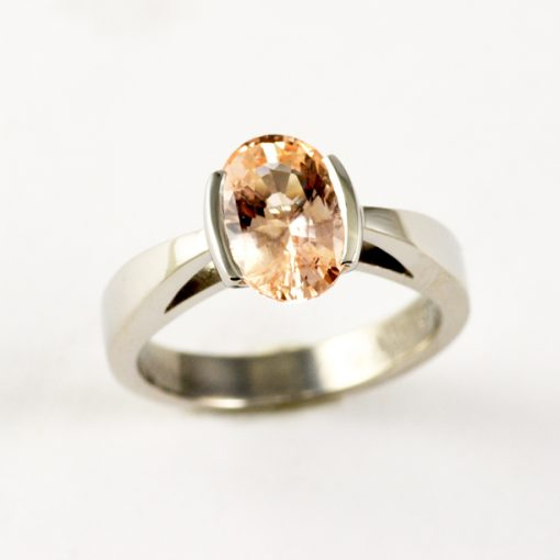 Earthwise Jewelry Rachel solitaire set with Padparadscha sapphire