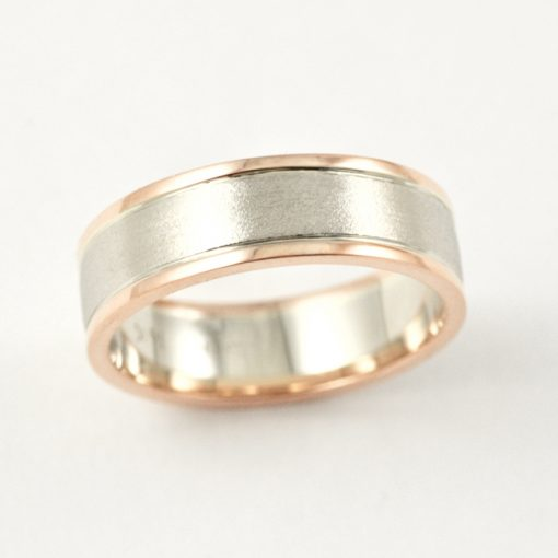 Leber Jeweler's Earthwise Jewelry Collection David two tone rose gold wedding band