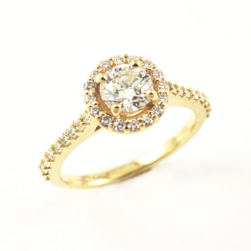 Earth wise Jewelry 18k yellow gold halo engagement ring