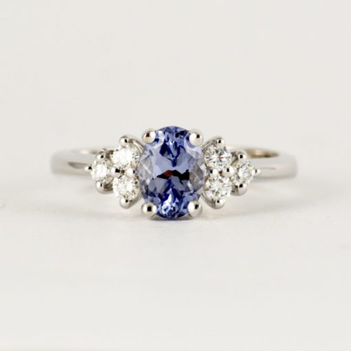 Earthwise Jewelry Nan blue sapphire and diamond engagement ring.