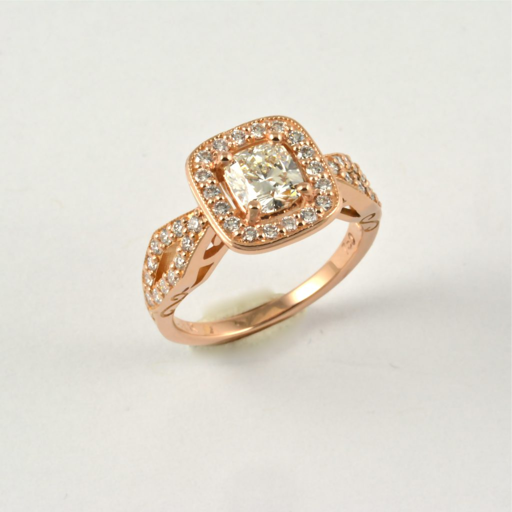 Earthwise Jewelry® rose gold diamond ring.
