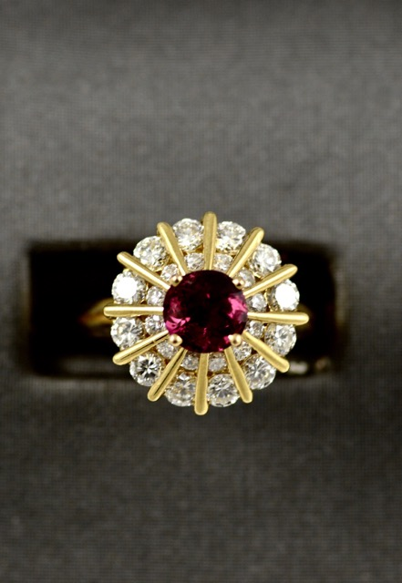 Leber Jeweler ruby and diamond ballerina ring
