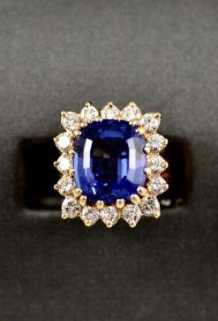Leber Jeweler vintage tanzanite and diamond halo ring