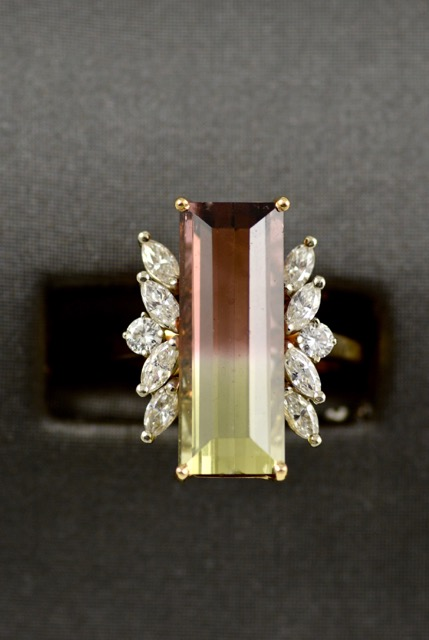 Leber Jeweler 18k yellow gold vintage bi-color tourmaline ring with diamonds