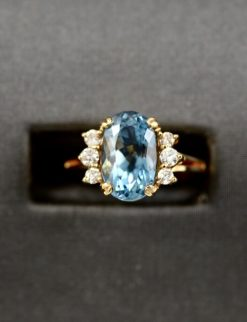 Vintage Leber Jeweler aquamarine and diamond ring