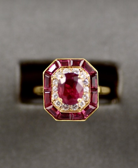Leber Jeweler vintage art deco design ruby and diamond ring.