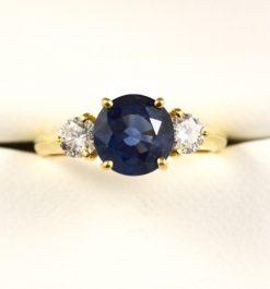 Vintage Leber Jeweler 2.70ct blue sapphire and diamond three stone ring