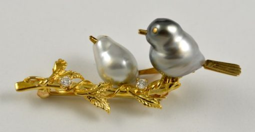 Leber Jeweler baroque pearl birds on a branch pin