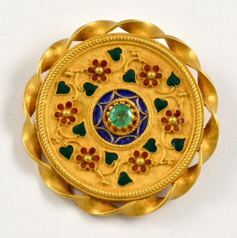 Leber Jeweler 18k yellow hand crafted enameled circle pin