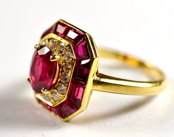 Leber Jeweler art deco ruby and diamond ring