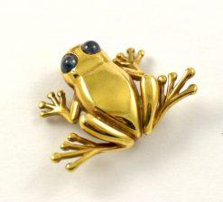 Leber Jeweler yellow gold frog pin