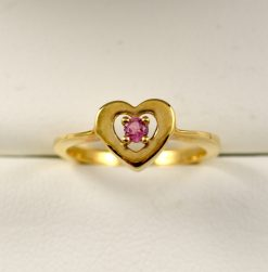 Leber Jeweler pink tourmaline heart ring
