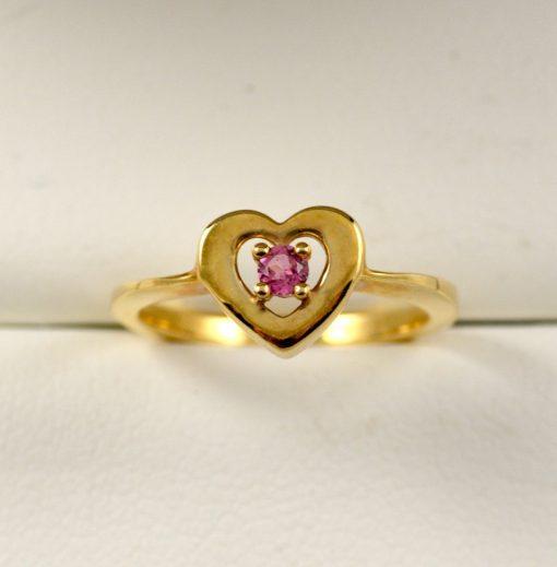 Leber Jeweler pink tourmaline heart ring
