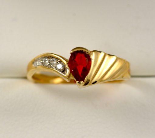 Leber Jeweler fire opal and diamond ring