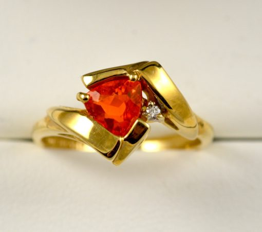 Leber Jeweler freeform Mexican fire opal ring