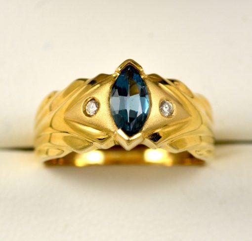 Leber Jeweler blue topaz and diamond ring
