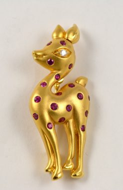 Leber Jeweler deer pin with ruby and diamond