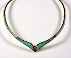 Leber Jeweler opal inlay necklace