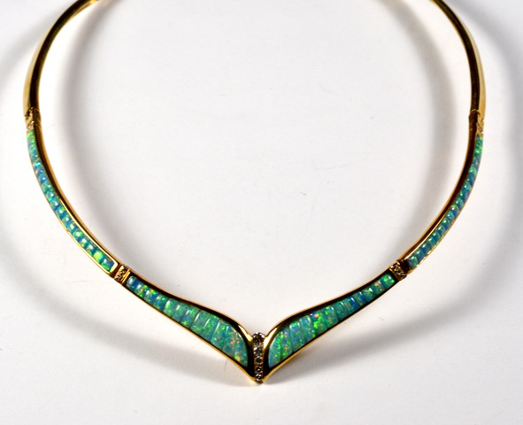 Leber Jeweler opal inlay necklace