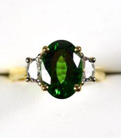Leber Jeweler vintage 4.09 carat tsavorite and diamond ring