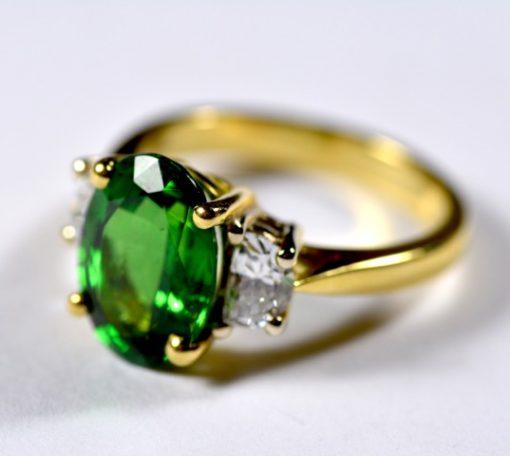 Leber Jeweler tsavorite and diamond ring