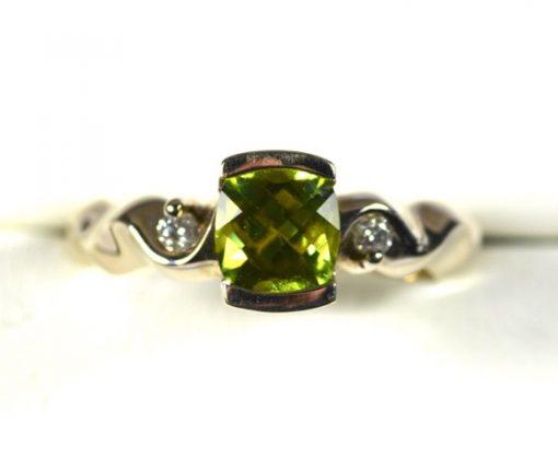 Leber Jeweler fair trade peridot and diamond ring