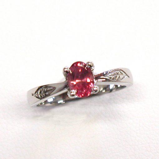 Earthwise Jewelry Amelia leaf ruby ring. By Leber Jeweler.