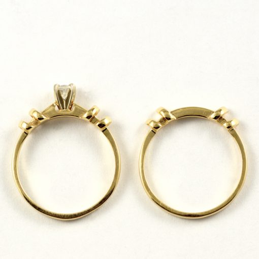 Leber Jeweler vintage diamond engagement and wedding ring set