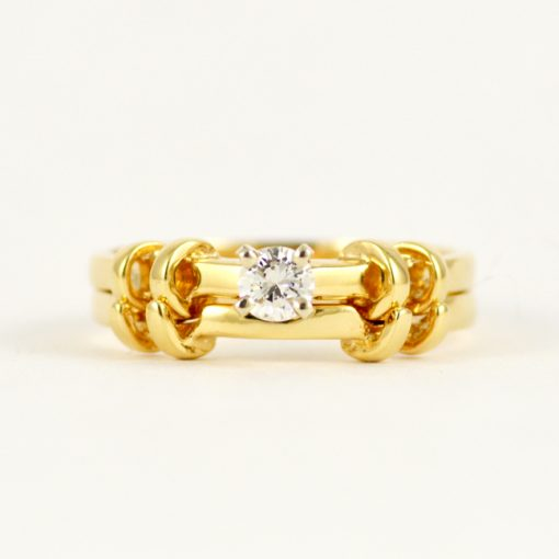 Leber Jeweler vintage diamond engagement and wedding ring