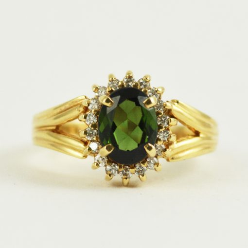 14k yellow gold vintage green tourmaline and diamond ring