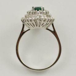Leber Jeweler vintage 18k white gold emerald and diamond ballerina ring