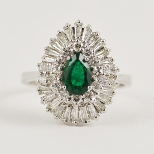 Leber Jeweler 18k white gold vintage emerald and diamond ballerina ring.