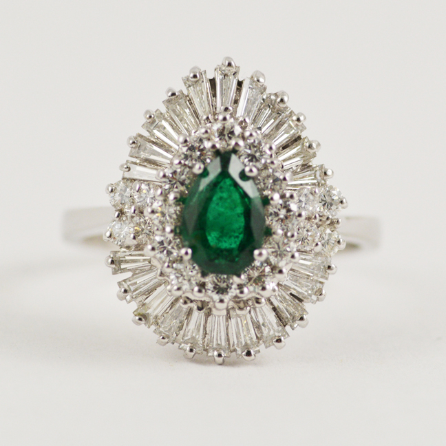 Emerald Diamond Ballerina Ring