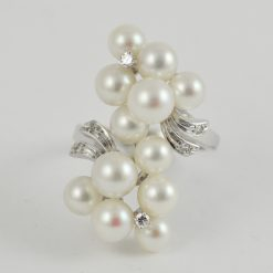 Leber Jeweler Vintage pearl and diamond ring