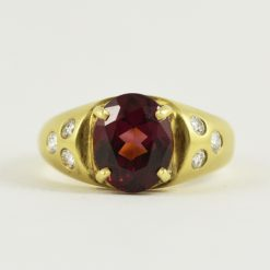 18k yellow gold vintage rhodolite garnet and diamond ring