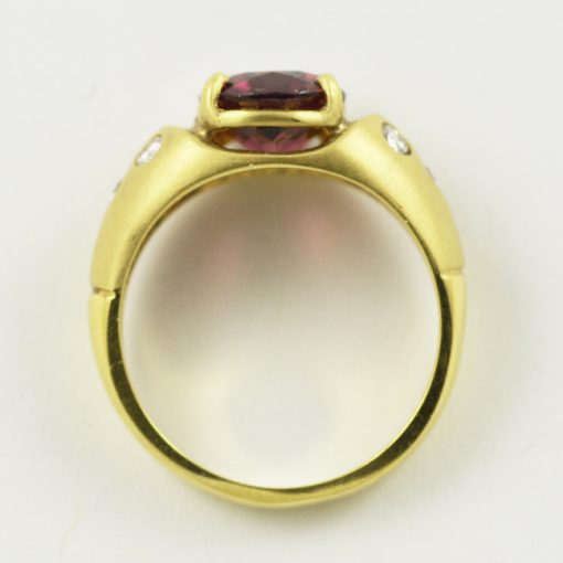 18k yellow gold vintage rhodolite garnet and diamond ring.