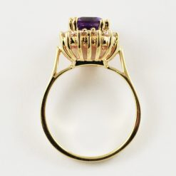 14k yellow gold vintage amethyst and diamond ring