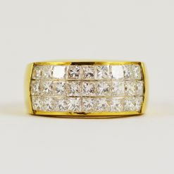 18k yellow gold invisible set diamond band