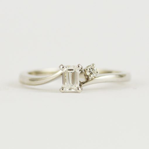 Leber Jeweler minimalist emerald cut diamond vintage engagement ring