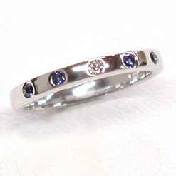 Earthwise Jewelry delicate blue sapphire and diamond band